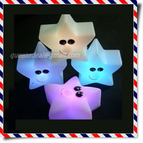 Plastic changing colors LED cute romantic star retails wholesale(China (Mainland))