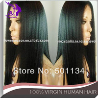 Yaki Full Lace Wig Guaranteed 100% Indian remy human hair yaki hair glueless lace wig