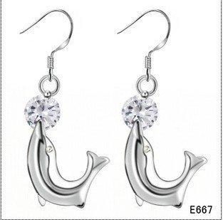 2011 New Fashion 925 Sterling Silver Jewelry Earrings Dolphin Shape Earring Women's Brand New 10pair/lot