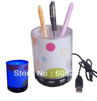 1pcs HUB USB Speaker/ pen case Speaker with LED lights/ MP3,computer speaker