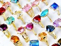 Free shipping Wholesale mix lot 25pcs Lab CZ gold plated ring jewelry rings fashion jewelry [CZ43*25]