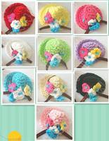 Hand crochet flower hat  accessories 100pcs/lot 10 colors mixed