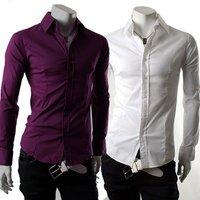 Free Shipping New Mens Casual Slim Fit Stylish Dress Shirts Colour:Purple,White US Size:S,M,L 6050