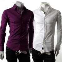 Free Shipping New Mens Casual Slim Fit Stylish Dress Shirts Colour:Purple,White US Size:S,M,L 6050