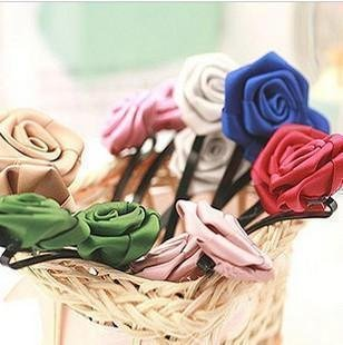 Hot Sales Fashion Satin Silk Roses Flowers Hair Clips Hairpin Women's multicolor 50pcs/lot(China (Mainland))
