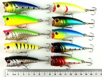 6CM 7G 10 colors 2.36 in./0.25 oz Top water plastic fishing hard bait lures,Popper fish lures,50pcs/lot free shipping