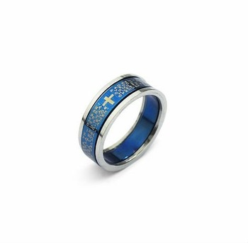 Free Shipping New Wholesale and retail classical  Titanium Ring Blue core# 7.5