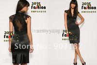 Free shipping 2014 New Fashion V Neck Slim Translucent Lace Black Dress DH145