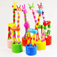 12x Hot, Wooden Unlimited Press Rock Dancing Giraffe Animal Toy Puppet For Kids Funny Gift, Let Off Wood Giraffe Wholesales