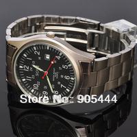 New SOKI Date Mens Black Dial Military Analog Quartz Wrist Stainless Steel Band Watch W030