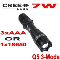 Zoomable CREE 500 Lumens  SA-9 CREE Q5 LED 3 Mode Flashlight Waterproof Camping Torch by 1*18650 Battery Free Shipping