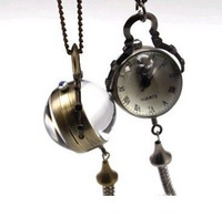 Free Shipping Mix Order HB0197 D2.5cm GLASS NOT PLASTIC Hot sale Wholesale 10pcs Antique Pocket watch with Chain,ball watches