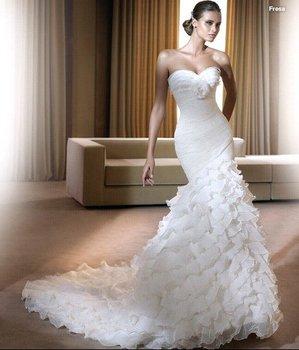 Wedding Dress, Strapless Wedding Dress, Chiffon Wedding Dress, White Wedding Dress, Accept   HS0233