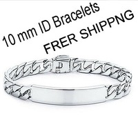 EVYSTZSL (15) Hight quantity Brand new fashion silver 10mm width figaro chain Men ID Bracelets classic jewelry factory price