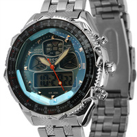 WM007-ESS Brand New mens man analog digital alarm blue face stainless steel sport quartz watch