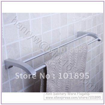 Retail- Aluminium Fashion Towel Bar, Double Bar Towel Holder Wall Mounted, Free Shipping L15608