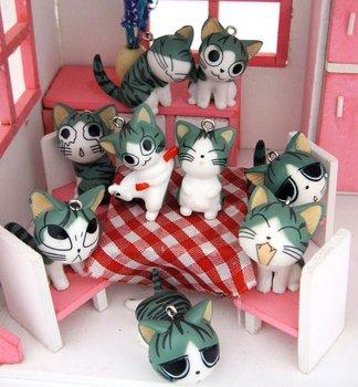 Freeshipping!Wholesale,Fashion Cartoon Sweet Cats KeyChain Cellphone & Handbag Pendant/MP3/MP4 MobilePhone Straps/Camera Chain