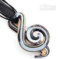 free shipping wholesales Note Lampwork Glass Pendant Necklace Gold Black Musical