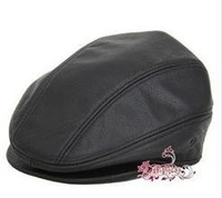 Genuine Leather Newsboy Driving Golf Hat Caps black