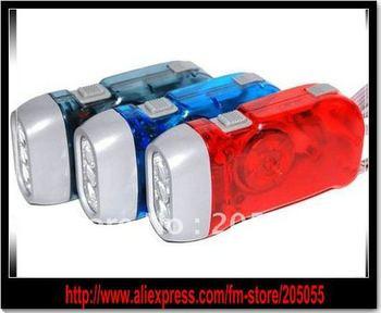 Hand PRESSING Dynamo Generator  LED Flashlight Brand new No Battery Powered 3 LED Flashlight Clear Crank