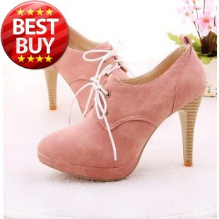 2014 NEW ! Fashion Sweety lace up Women high heel shoes for Lady high heels & Beige,Pink,Black,Blue
