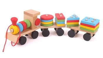 Candice guo! Colorful Wooden toy intellectual toy train shape building block vehicle