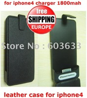 free dhl europe 50pcs 1800 mAh emergency charger for iphone 4 + leather case for iphone 4 (spmhcg004)