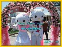 Newest Version Light Wedding Hello Kitty Mascot Costume Cartoon Mascot Character Costume Free Shipping
