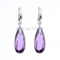 100% Genuine Real Sterling Silver 925 Purple Amethyst Teardrop Water Drop Dangle Earrings Cubic Zirconia