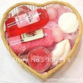 bath gift set(shower gel/towel/rose flower soap/bath fizzle/bath cavier)
