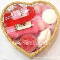 bath gift set(shower gel/towel/rose flower soap/bath fizzle/bath cavier)