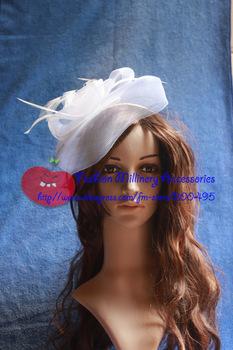 New Arrival Unique White Crinoline Fascinator Headpiece Hat With Headband #5pcs/lot