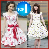 HQ Hot sales price Cotton women's causal fashion dresses with waist belt WTS003