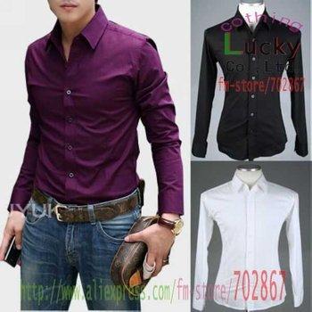 men's shirt Stylish fashion Pure Slim fashion Classic Long Sleeves popular shirts SH40 M L XL White black wine red brown purple