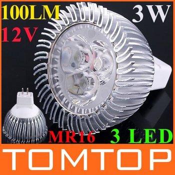Energy Saving 12V 100LM 3W Cold White MR16 LED lamp with 3 pcs LED bulbs LED Lightings Wholesale dropshipping free shipping