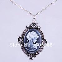12Pcs/Lot,Vintage Bohemia Antique Cameo Palace Cutie Head Long Pendant Necklace Jewelry,Wholesale Free Shipping