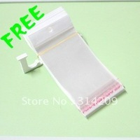 Free shipping, OPP Self Adhesive Clear Plastic Bag with Hanging Header, 7x12cm, 0.07mm thick, 2000 pcs/lot