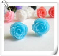 4 Styles mixed Fashion Clay rose Flower stud earring,24pairs/lot,Freeshipping