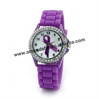 105pcs/lot,best-selling silicone crystal watch,purple cancer watch.representative fashion watch.
