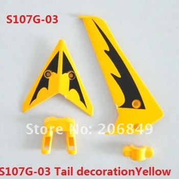 10 SETS S107G-03 Tail decoration(yellow) spare parts for 22cm S107G SYMA 3ch Gyro R/C Mini Helicopter RC plane S107