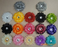 Wholesale Daisy flowers 100pcs/lot,20 for free,hair flowers with crystal FREE SHIPPING VIA EMS
