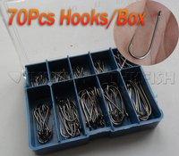 Promotion!! 700 Pcs Pack (70Pcs/set) From #3~12 Black Carbon Freshwater Fishing Hooks Fishhooks