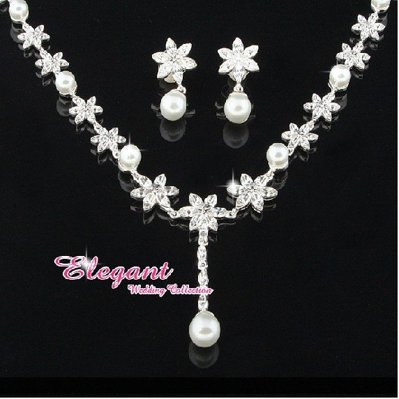 New Princess High Quality WEDDING BRIDAL Tin Alloys Crystal Pearls Titanum Post,WEDDING BRIDAL NECKLACE +Free Shipping(China (Mainland))