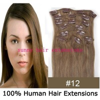 "16"" 18"" 20"" 22"" 24"" 26"" 8pcs remy clip in hair extensions clip in extensions #12 light brown 100g/set  3sets/lot any color"