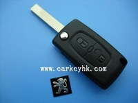 Hot sale Peugeot 2 button 407 remote key shell key cover no battery place with groove blade auto car key case