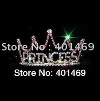 2014 fashion cute silver rhinestone pink princess tiara crown hair accessories children kids girls gift headwear band ornaments