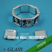 20MM Square Shaped Stretch Bezel Bracelet Blank Setting + Clear Glass Cabochon