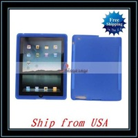 Free Shipping + Silicone Case For iPad 2 Blue Ship from USA-I00358