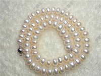 FREE SHIPPING!7-8mm WHITE FRESHWATER CULTURED PEARL NECKLACE EARRINGS