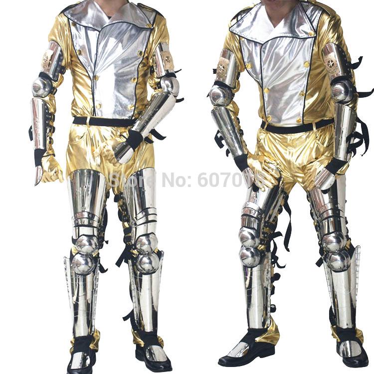 Rare Scream Hot MJ Michael Jackson History Tour Concert Classic Silver Stainless Steel Armor & Golden Costume Full Set(China (Mainland))